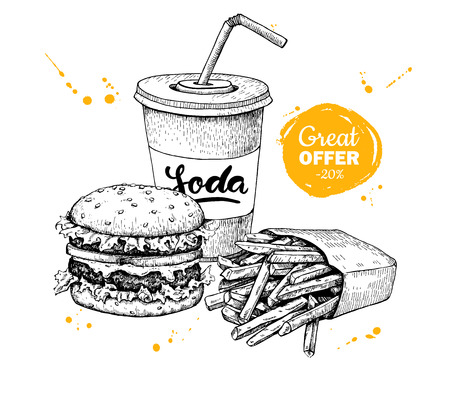 promote: Vector vintage fast food special offer. Hand drawn monochrome junk food illustration. Soda, burger and french fries drawing. Great for poster, banner, voucher, coupon, business promote.