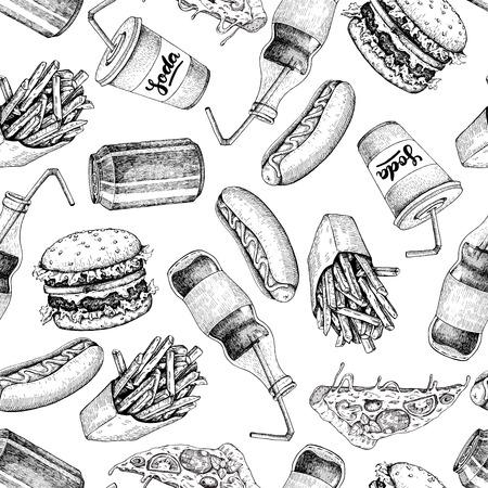 手描きのファーストフードのパターン。ジャンク フードやソーダ飲み物の背景。ハンバーガー、ピザ、ホットドッグ、フライド ポテトとソーダの詳