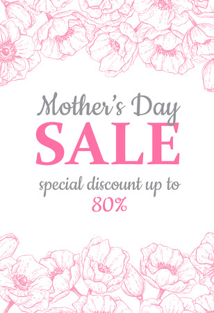 Mothers day sale illustration. Detailed flower drawing. Great banner, flyer, poster, brochure for your business holiday discount. Mothers day special offer.