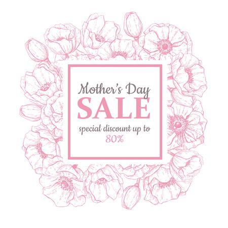 母の日セール イラスト。詳細な花を描きます。素晴らしいバナー、チラシ、ポスター、パンフレット、ビジネスの休日割引  イラスト・ベクター素材