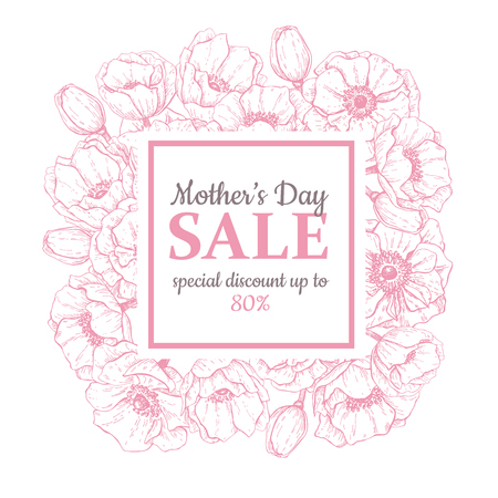 Mother's day sale illustration. Detailed flower drawing. Great banner, flyer, poster, brochure for your business holiday discount Vettoriali