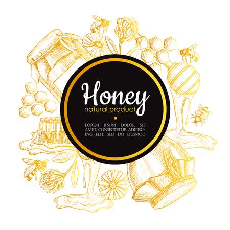 벡터 손 꿀 프레임을 그려. 자세한 금 꿀 그림을 새겨 져. 그래픽 꿀, 벌집, 벌, 유리 항아리, 꽃, 냄비. 레이블, 배너, 포스터, 카드.