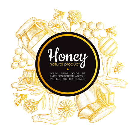 Vector hand drawn honey frame. Detailed gold engraved honey illustrations. Graphic honey, honeycomb, bee, glass jar, flowers, pot. Great for label, banner, poster, card.