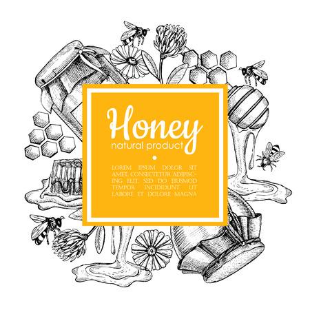 Vector disegnato a mano cornice miele. Dettagliate giallo illustrazioni di miele incise. miele grafica, a nido d'ape, ape, vaso di vetro, fiori, piatto. Grande per l'etichetta, banner, manifesti, carta.