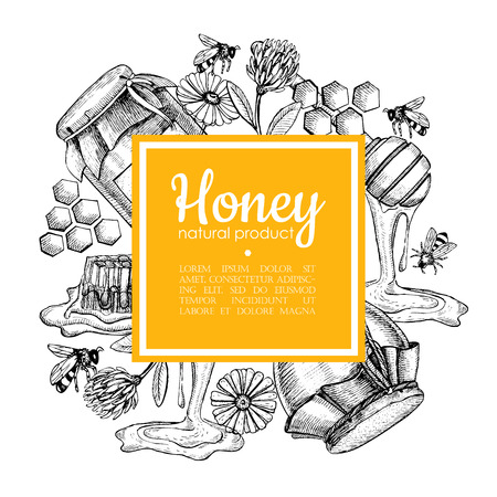 Vector hand drawn honey frame. Detailed yellow engraved honey illustrations. Graphic honey, honeycomb, bee, glass jar, flowers, pot. Great for label, banner, poster, card. Ilustração