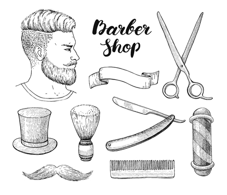 whisker: Vector vintage hand drawn Barber Shop set. Detailed illustrations. Hipster man with beard, mustage, scissors, ribbon, whisker and lettering styled text. Design elements for label, banner, poster, template.
