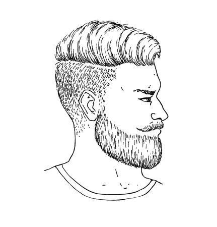Vector hand drawn adult man with beard and mustage side portrait. Trendy bearded Hipster style. Engraved illustration