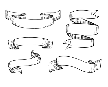 etch: Set of  hand drawn vector scrolled ribbons. Old styled engraved illustration. Great for banner or as design element
