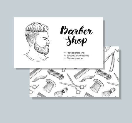 whisker: vintage hand drawn Barber Shop business cards. Detailed illustrations. Hipster man with beard, mustage, scissors, ribbon, whisker and lettering styled text. Illustration