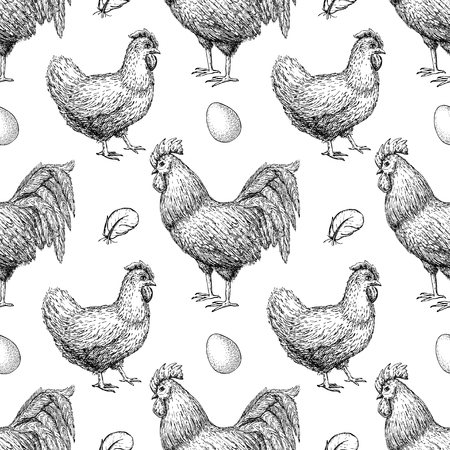 chicken breeding hand drawn seamless pattern. Engraved Chicken, Roster, feather and egg illustrations. Rural natural bird farming. Poultry business background