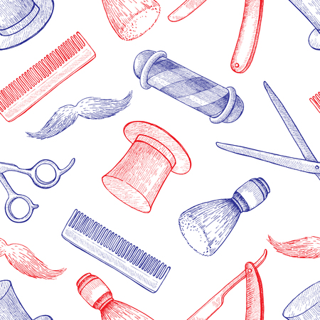 whisker: vintage hand drawn Barber Shop seamless pattern. Detailed background. Mustage, scissors, ribbon, whisker and lettering styled text. Design elements for background, banner, poster, template.