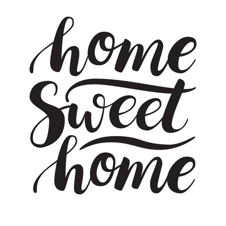 housewarming: Conceptual handwritten phrase Home Sweet Home. Calligraphic quote. illustration for housewarming posters, banners, cards Illustration