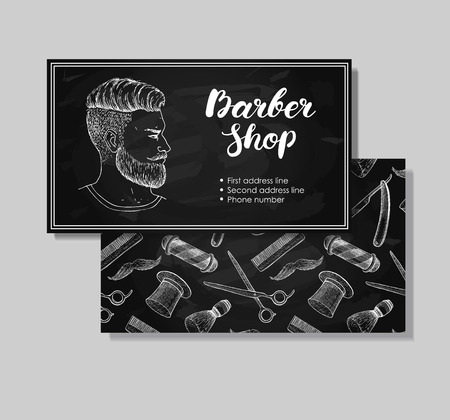 whisker: Vector vintage hand drawn Barber Shop business cards. Detailed illustrations  of Hipster man with beard, mustage, scissors, ribbon, whisker and lettering styled text.