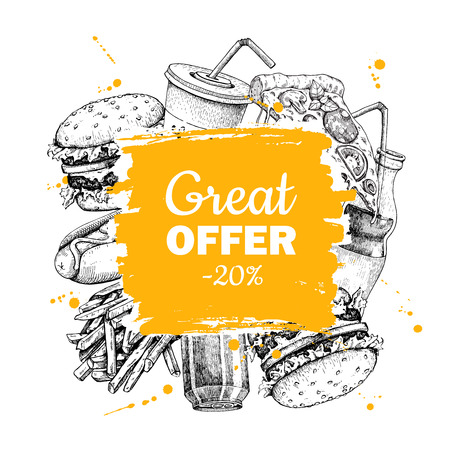 french label: Vector vintage fast food special offer. Hand drawn junk food frame illustration. Soda, hot dog, pizza, burger and french fries drawing. Great for label, menu, poster, banner, voucher, coupon