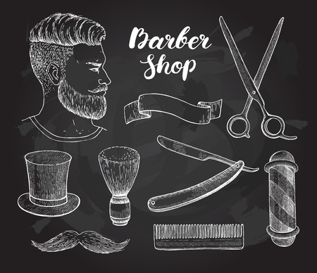 Vector vintage hand drawn Barber Shop set on chalkboard. Detailed illustrations. Hipster man with beard, mustage, scissors, ribbon, whisker and lettering styled text.