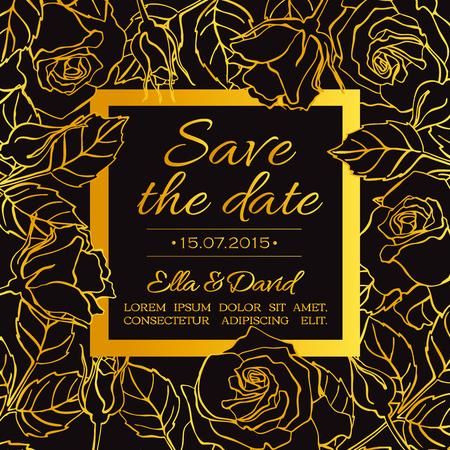 De gevoelige kaartmalplaatje van de huwelijksuitnodiging met lijn nam bloemen en bladeren in gouden kleur op zwarte achtergrond toe.