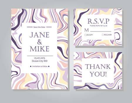 suite: Vector Wedding invitation card suite with ink marble style texture. Hand drawn marbling effect. Background illustration in Pastel colors. Save the Date, rsvp, thank you card. Abstract wedding set. Illustration