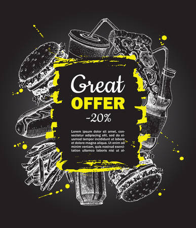 french label: Vector fast food special offer on blackboard. Hand drawn junk food frame illustration. Soda, hot dog, pizza,  burger and french fries drawing. Great for label, menu, poster, banner, voucher, coupon Illustration