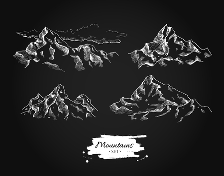 climbing mountain: mountains drawing set. mountains illustrations on blackboard. Great for travel, hiking, tourism, trekking business promoting.