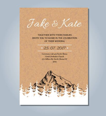 pinecone: Mountain wedding invitation. Vector rustic card template. Wedding card sketch illustration with mountain and pinecone tree forest. Illustration