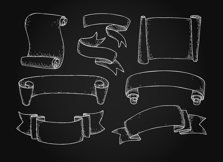 etch: Set of  hand drawn vector scrolled ribbons on blackboard. Old styled engraved illustration. Great for banner or as design element.
