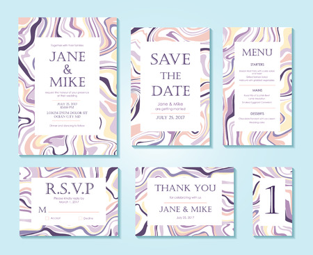 suite: Vector Wedding invitation card suite with ink marble style texture. Hand drawn marbling effect. Background pastel abstraction. Invitation, Save the Date, rsvp, thank you card, menu, table number.