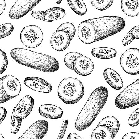 Conception en concombre à motifs dessin vectoriel sans trace. Illustration de style gravé aux légumes. Concombres isolés et morceaux en tranches. Fond d'écran végétarien détaillé. Produit du marché agricole. Vecteurs
