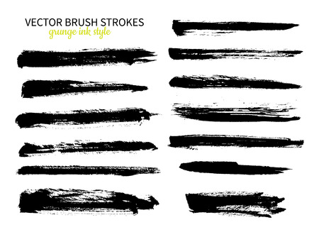smears: Grunge ink brush stroke set. Abstract freehand strokes. Isolated dry brush black smears. Modern design elements.