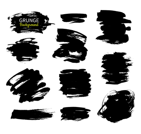 smears: Grunge ink vector background set. Abstract freehand strokes. Isolated dry brush black smears. Great for banner. Modern design elements. Illustration