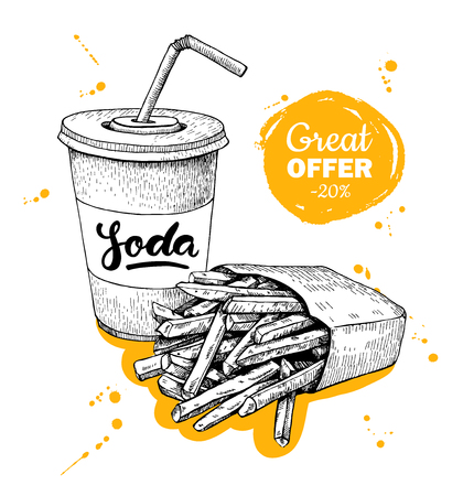 promote: Vector vintage fast food special offer. Hand drawn monochrome junk food illustration.Soda and french fries. Great for poster, banner, voucher, coupon, business promote. Illustration