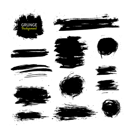 Grunge ink vector background set. Abstract freehand strokes. Isolated dry brush black smears. Circle, square, stroke. Great for banner. Modern design elements. Stock Illustratie