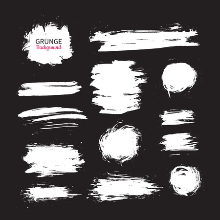 Grunge ink vector background set. Abstract freehand shapes. Isolated dry brush white smears. Circle, square, stroke. Great for banner. Modern design elements.