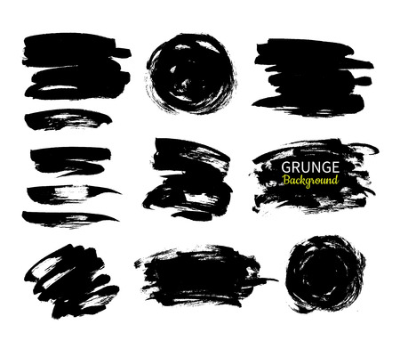smears: Grunge ink vector background set. Abstract freehand strokes. Isolated dry brush black smears. Circle, square, stroke. Great for banner. Modern design elements. Illustration