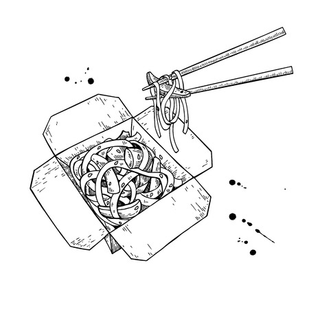 thai noodle: Wok vector drawing. Isolated chinese box and chopsticks  with noodles and vegetables. Hand drawn detailed fast asian food illustration.