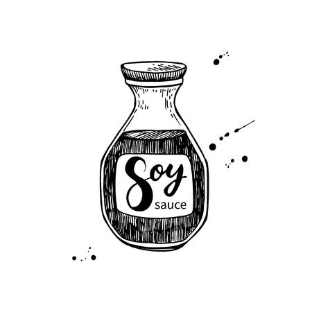 Sojasaus vector fles. Geïsoleerd levensmiddelen tekening. Hand getrokken gedetailleerde illustratie Vector Illustratie
