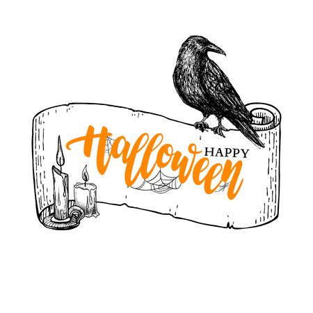 Happy Halloween vector banner with lettering and ribbon, candle and raven drawing. Isolated holiday illustration with message