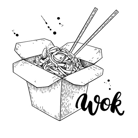 chinese food container: Wok vector drawing with lettering. Isolated chinese box and chopsticks  with noodles and vegetables. Hand drawn detailed fast asian food illustration. Great for banner, poster, sign