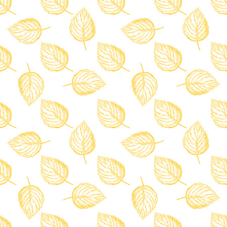 etch: Seamless vector pattern with autumn leaves. Hand drawn detailed botanical background. Yellow leaf drawing. Vintage fall seasonal decor.