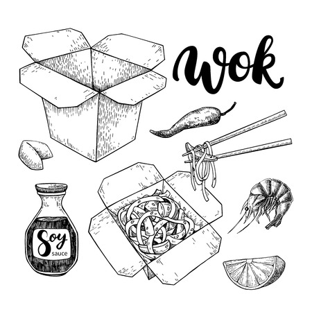 soy: Wok vector drawing with lettering. Isolated chinese box and chopsticks  with noodles, vegetables and soy sauce. Hand drawn detailed fast asian food illustration. Great for banner, poster, menu decor Illustration