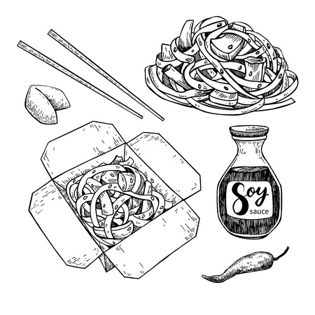 soy sauce: Wok vector drawing set. Isolated chinese box and chopsticks  with noodles, vegetables and soy sauce. Hand drawn detailed fast asian food illustration. Great for banner, poster, menu decor
