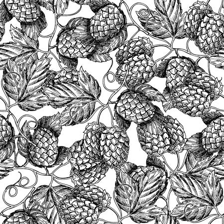Hop vector seamless pattern.Black hand drawn artistic beer  hop branch with leaves on white background. Engraved style vintage wallpaper. Great drawing decor for oktoberfest or beer packaging Ilustração