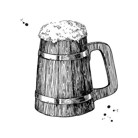 alcoholic drink: Wooden beer mug sketch style vector illustration. Hand drawn isolated beverage object on white background. Alcoholic drink drawing. Great for restaurant, bar, pub menu, oktoberfest decor. Illustration