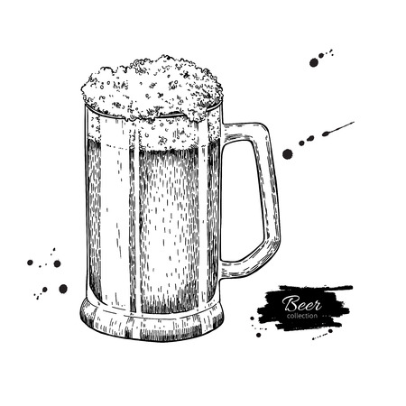 alcoholic drink: Glass mug of beer sketch style vector illustration. Hand drawn isolated beverage object on white background. Alcoholic drink drawing. Great for restaurant, bar, pub menu, oktoberfest decor.