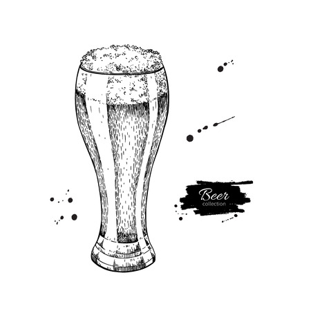 Glass of beer sketch style vector illustration. Hand drawn isolated beverage object on white background. Alcoholic drink drawing. Great for restaurant, bar, pub menu, oktoberfest decor. Illustration