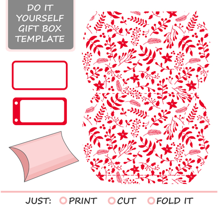 die cut: Christmas vector gift packaging template. Favor, gift box die cut. Box template. Red and white pattern with holly, mistletoe and poinsettia.