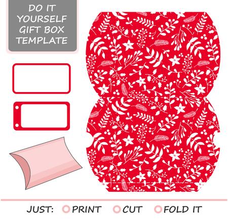 크리스마스 벡터 선물 포장 템플릿입니다. 부탁, 선물 상자 죽을 컷. 상자 템플릿. 홀리, 미 슬 토 및 포 인 세 티아와 빨간색과 흰색 패턴.