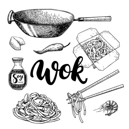 soy sauce: Wok vector drawing with lettering. Isolated chinese box and chopsticks  with noodles, vegetables and soy sauce. Hand drawn detailed fast asian food illustration. Great for banner, poster, menu decor Illustration