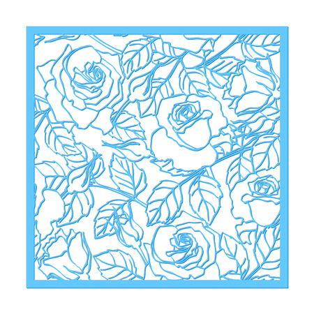 Laser cut vector rose ornament. Cutout pattern silhouette with flower and leaves. Die cut paper element for wedding invitations, save the date, greeting card. Square botanical cutting template panel