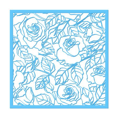 corte laser: corte por láser vector adorno rosa. silueta patrón de sustracción con flores y hojas. Die elemento de corte de papel para las invitaciones de boda, ahorre la fecha, tarjeta de felicitación. panel de plantilla de corte cuadrado botánico
