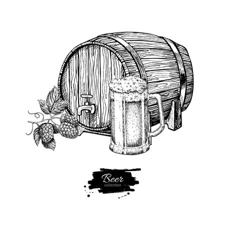etch glass: Beer barrel with hop and glass mug. Sketch style vector illustration. Hand drawn isolated beverage object on white background. Alcoholic drink drawing. Great for restaurant, bar, pub menu, oktoberfest Illustration